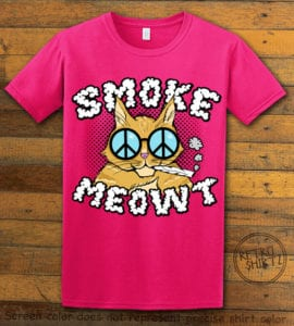 This is the main graphic design on a pink shirt for the Weed Shirt: Stoned Cat Smoke Meowt