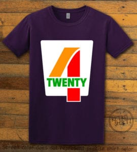 This is the main graphic design on a purple shirt for the Weed Shirt: Seven Eleven Four Twenty 7/11 4/20
