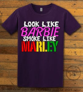 This is the main graphic design on a purple shirt for the Weed Shirt: Look Like Barbie Smoke Like Marley