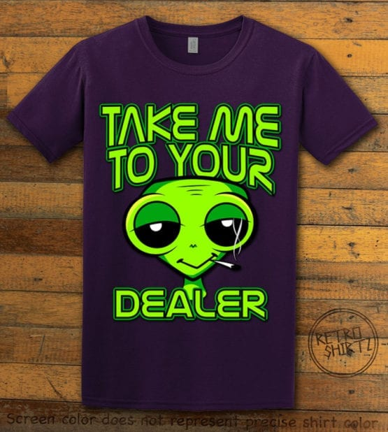 This is the main graphic design on a purple shirt for the Weed Shirt: Stoned Alien Smoking