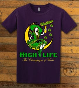 This is the main graphic design on a purple shirt for the Weed Shirt: High Life Champagne of Weed