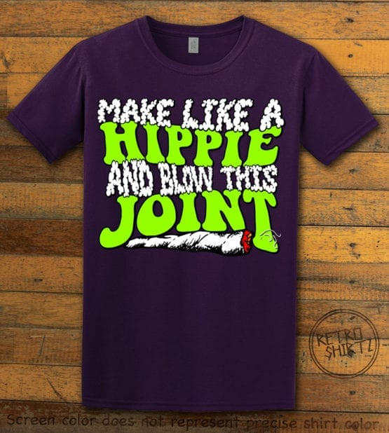 This is the main graphic design on a purple shirt for the Weed Shirt: Hippie Joint