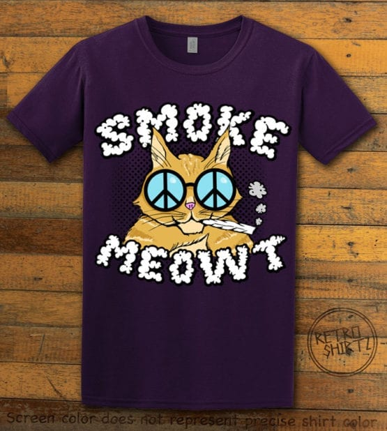 This is the main graphic design on a purple shirt for the Weed Shirt: Stoned Cat Smoke Meowt