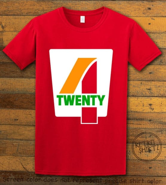 This is the main graphic design on a red shirt for the Weed Shirt: Seven Eleven Four Twenty 7/11 4/20