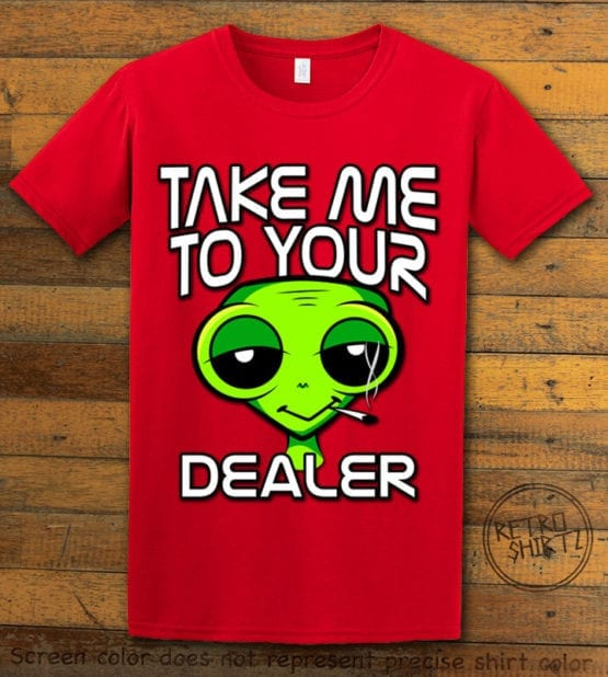 This is the main graphic design on a red shirt for the Weed Shirt: Stoned Alien Smoking