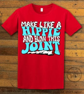 This is the main graphic design on a red shirt for the Weed Shirt: Hippie Joint