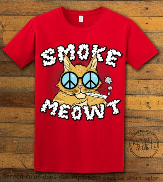 This is the main graphic design on a red shirt for the Weed Shirt: Stoned Cat Smoke Meowt