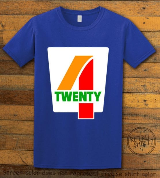 This is the main graphic design on a royal shirt for the Weed Shirt: Seven Eleven Four Twenty 7/11 4/20