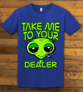 This is the main graphic design on a royal shirt for the Weed Shirt: Stoned Alien Smoking