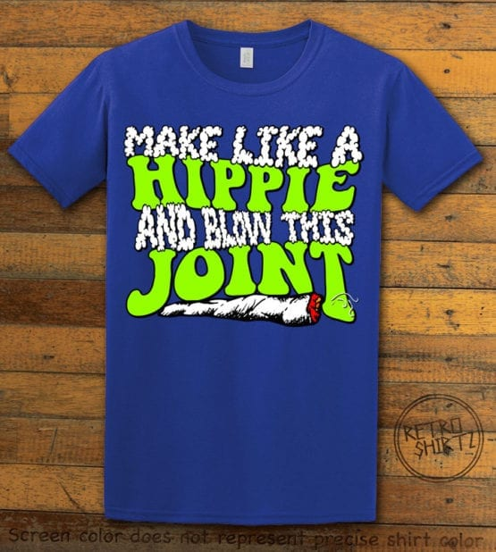 This is the main graphic design on a royal shirt for the Weed Shirt: Hippie Joint