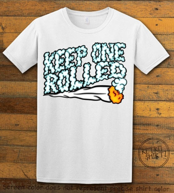 This is the main graphic design on a white shirt for the Weed Shirt: Keep One Rolled