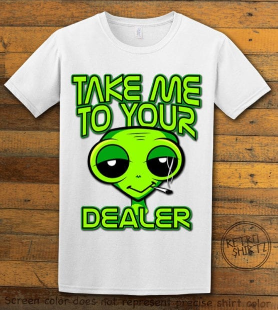 This is the main graphic design on a white shirt for the Weed Shirt: Stoned Alien Smoking