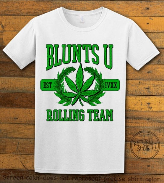This is the main graphic design on a white shirt for the Weed Shirt: Blunts University