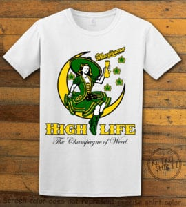 This is the main graphic design on a white shirt for the Weed Shirt: High Life Champagne of Weed