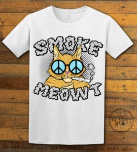 This is the main graphic design on a white shirt for the Weed Shirt: Stoned Cat Smoke Meowt