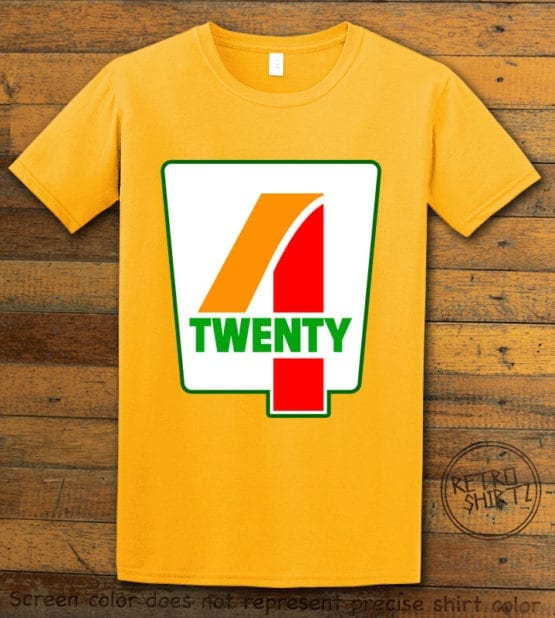 This is the main graphic design on a yellow shirt for the Weed Shirt: Seven Eleven Four Twenty 7/11 4/20