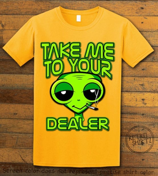 This is the main graphic design on a yellow shirt for the Weed Shirt: Stoned Alien Smoking