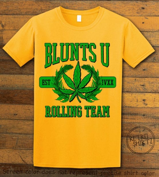 This is the main graphic design on a yellow shirt for the Weed Shirt: Blunts University