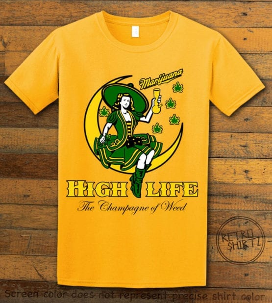 This is the main graphic design on a yellow shirt for the Weed Shirt: High Life Champagne of Weed