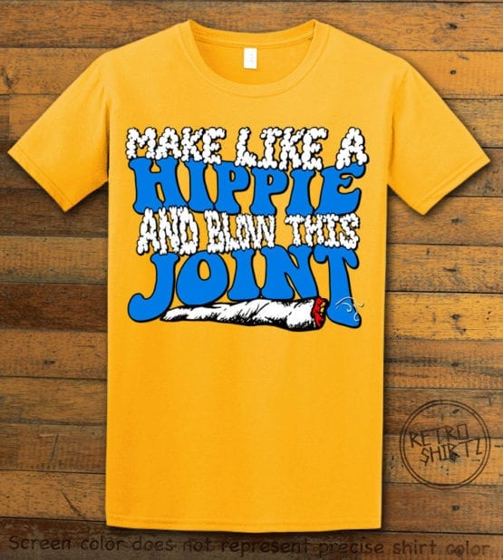 This is the main graphic design on a yellow shirt for the Weed Shirt: Hippie Joint