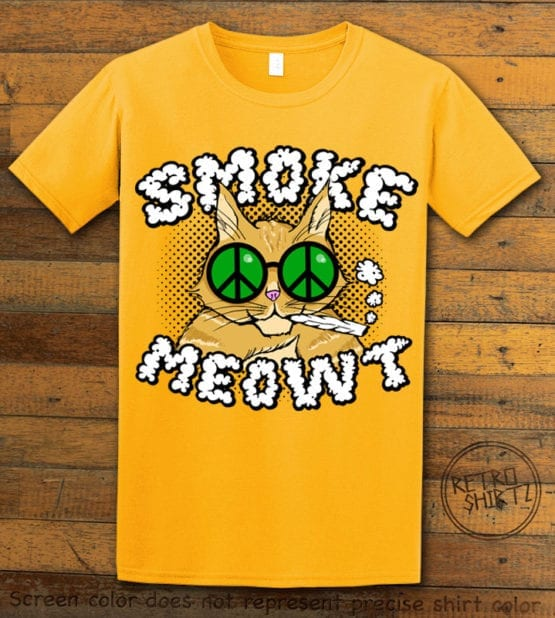 This is the main graphic design on a yellow shirt for the Weed Shirt: Stoned Cat Smoke Meowt