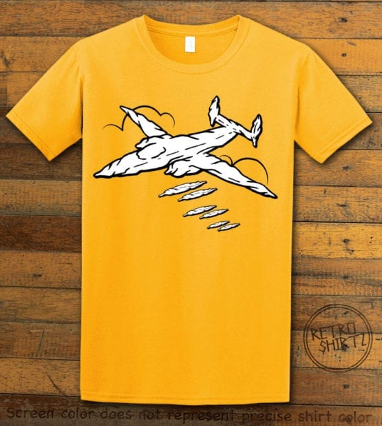 This is the main graphic design on a yellow shirt for the Weed Shirt: Joint Bomber Plane