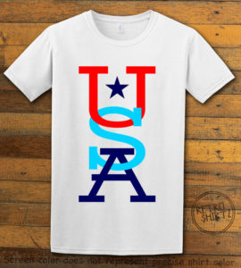 This is the main graphic design on a white shirt for the: USA Vertical