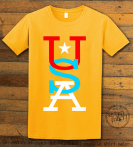 This is the main graphic design on a yellow shirt for the: USA Vertical
