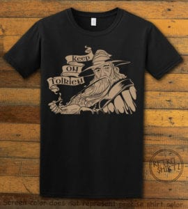 This is the main graphic design on a black shirt for the Weed Shirt: Gandalf Smoking Pipeweed