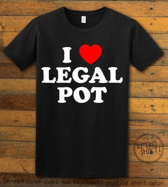 This is the main graphic design on a black shirt for the Weed Shirt: I Heart Pot