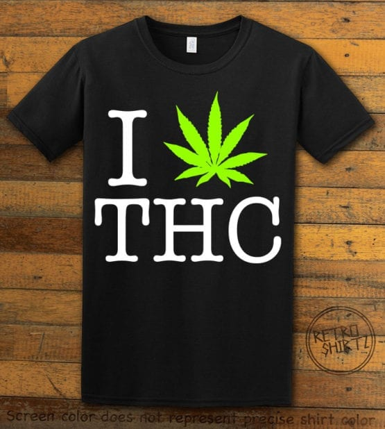 This is the main graphic design on a black shirt for the Weed Shirt: I Heart THC