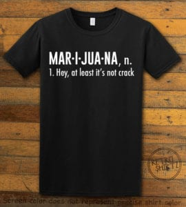 This is the main graphic design on a black shirt for the Weed Shirt: Marijuana Definition