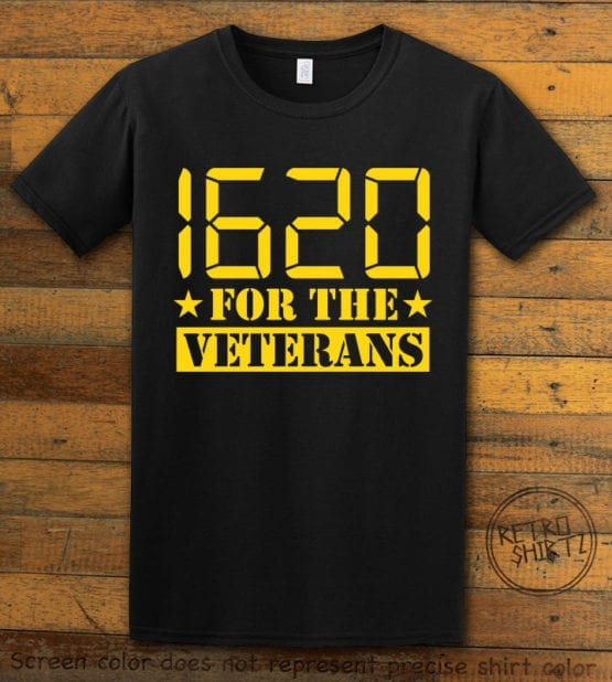 This is the main graphic design on a black shirt for the Weed Shirt: 1620 Veterans