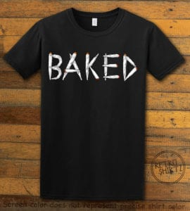 This is the main graphic design on a black shirt for the Weed Shirt: Baked Joint Letters