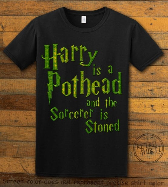 This is the main graphic design on a black shirt for the Weed Shirt: Harry is a Pothead