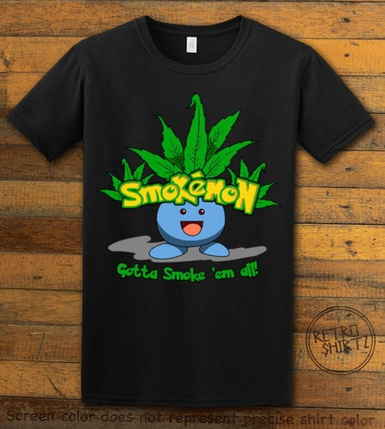 This is the main graphic design on a black shirt for the Weed Shirt: Smokemon Oddish Pot Leaf