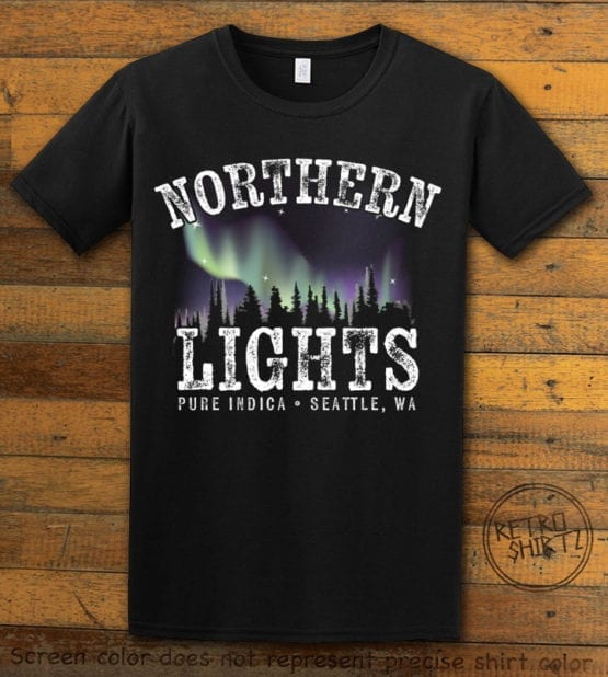 This is the main graphic design on a black shirt for the Weed Shirt: Northern Lights Indica
