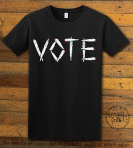 This is the main graphic design on a black shirt for the Weed Shirt: Vote Legalize Marijuana
