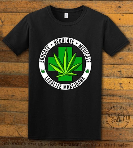 This is the main graphic design on a black shirt for the Weed Shirt: Legalize Medical Marijuana