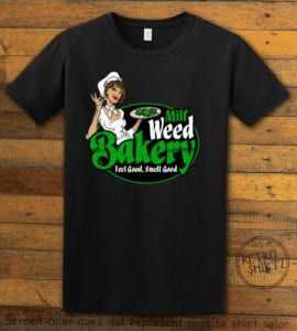 This is the main graphic design on a black shirt for the Weed Shirt: Milf Weed Bakery
