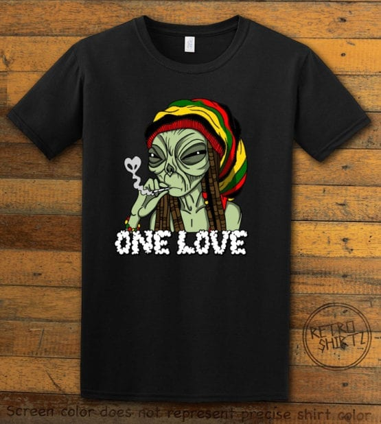 This is the main graphic design on a black shirt for the Weed Shirt: Rasta Alien