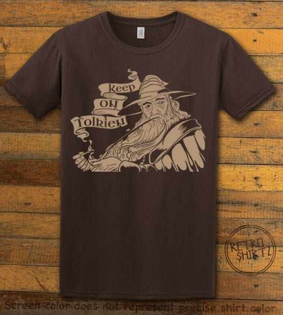 This is the main graphic design on a brown shirt for the Weed Shirt: Gandalf Smoking Pipeweed