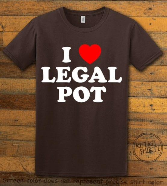 This is the main graphic design on a brown shirt for the Weed Shirt: I Heart Pot