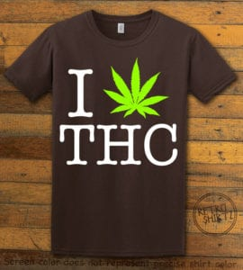This is the main graphic design on a brown shirt for the Weed Shirt: I Heart THC