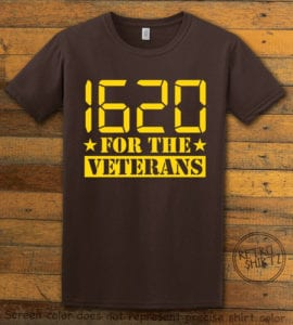 This is the main graphic design on a brown shirt for the Weed Shirt: 1620 Veterans