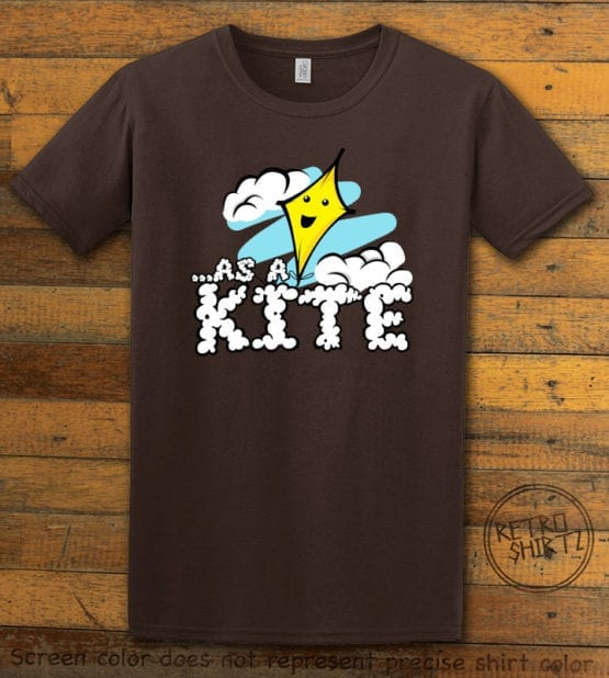 This is the main graphic design on a brown shirt for the Weed Shirt: High as a Kite