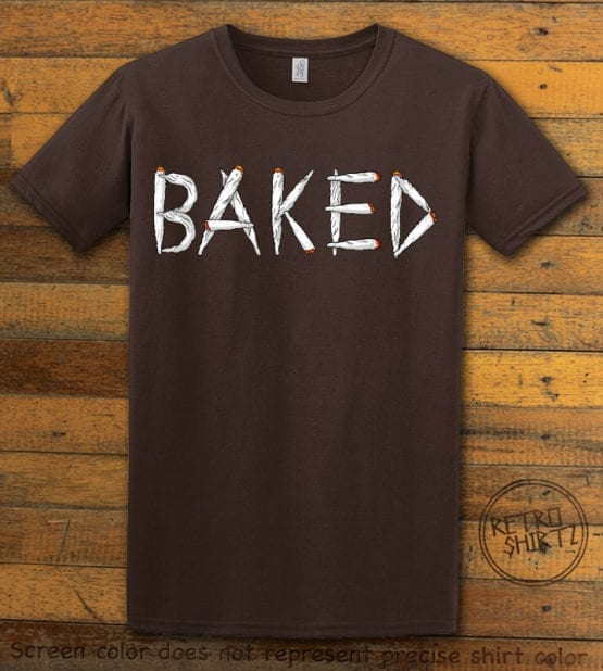 This is the main graphic design on a brown shirt for the Weed Shirt: Baked Joint Letters