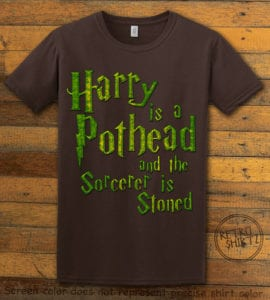 This is the main graphic design on a brown shirt for the Weed Shirt: Harry is a Pothead