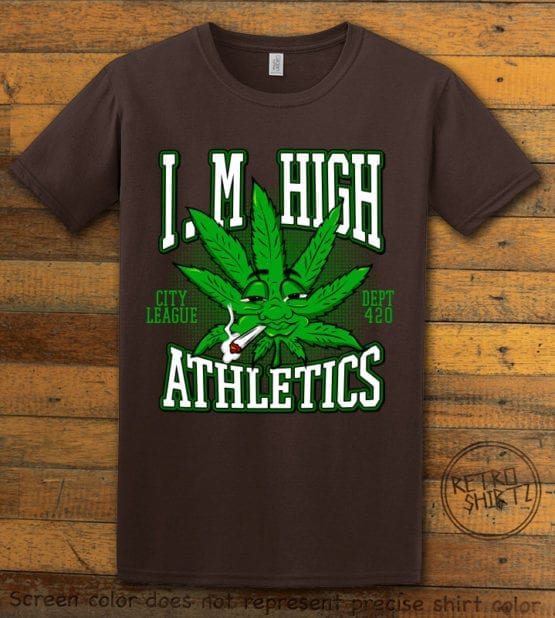 This is the main graphic design on a brown shirt for the Weed Shirt: Marijuana High School