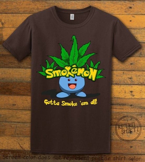 This is the main graphic design on a brown shirt for the Weed Shirt: Smokemon Oddish Pot Leaf